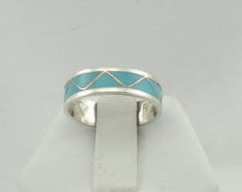 Vintage Turquoise Inlay Sterling Silver 'Drum' Ring Size 9 1/4 FREE SHIPPING! #TDRUM-SR2