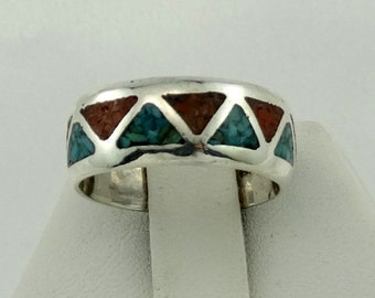 Vintage Turquoise and Coral Inlay Sterling Silver 'Drum' Ring Size 6 3/4 FREE SHIPPING! #DRUM65-SR5