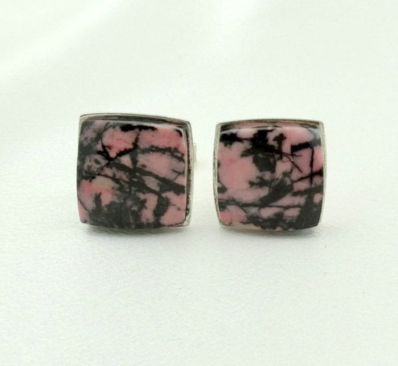 Great Patterned Rhodonite Vintage Sterling Silver