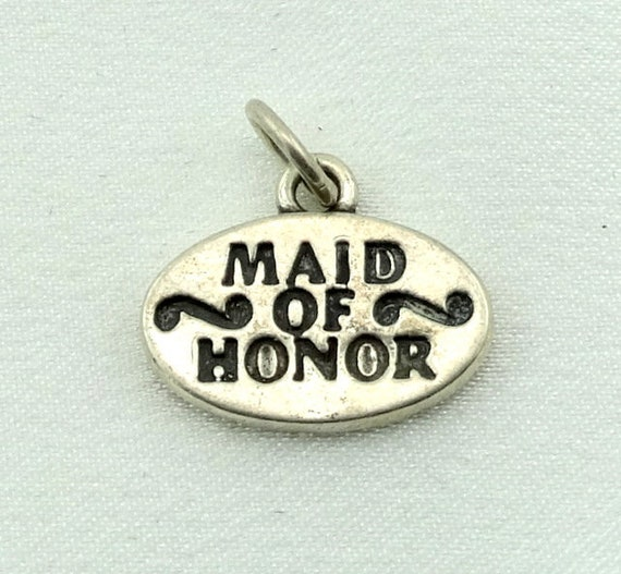 Maid of Honor Vintage Sterling Silver Charm FREE S