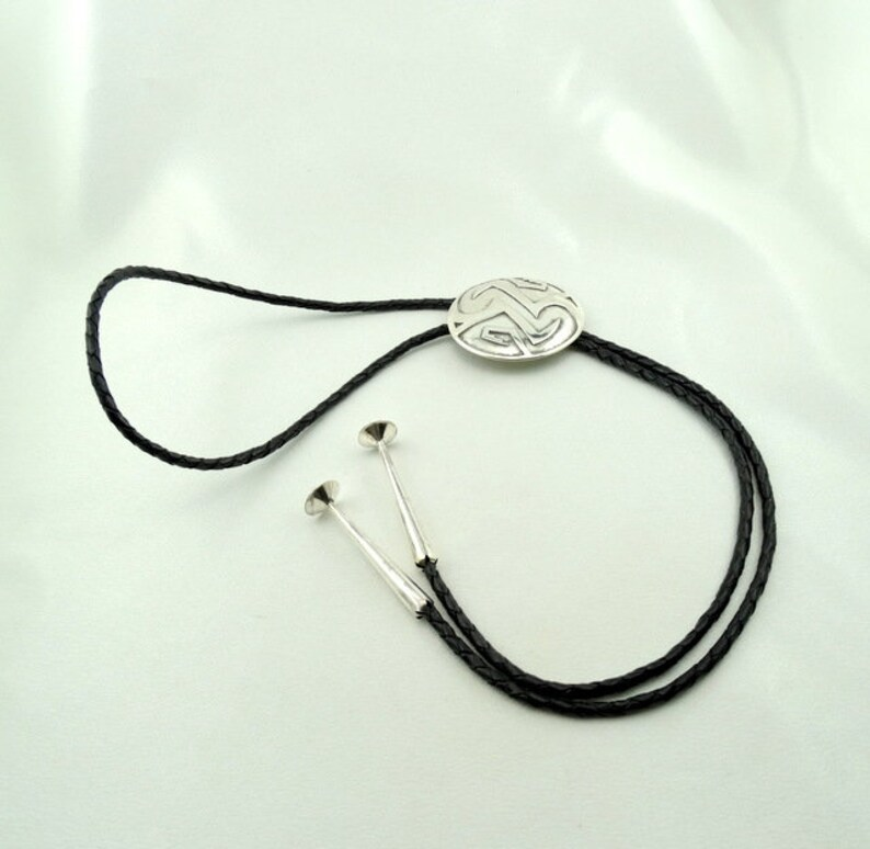 #NAD-ELP1 Native American Design Sterling Silver and Braided Leather Bolo Tie FREE SHIPPING