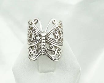 The Perfect Garden Ring...Sterling Silver Butterfly Vintage Ring  Size 6 3/4 #BUTTERFLY1-SR4