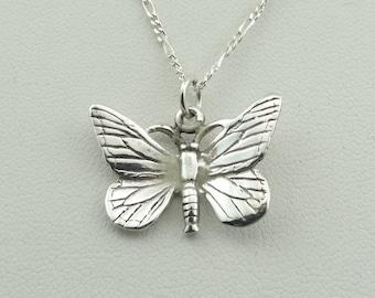 Dainty Sterling Silver Butterfly Pendant.  Includes a 16 Inch Sterling Silver Chain #BUTTERFLY-SPC4