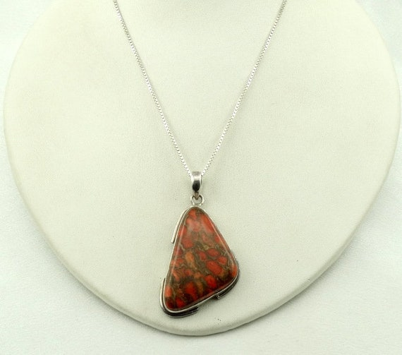 Gorgeous Large Poppy Jasper Sterling Silver Pendant FREE SHIPPING #POPPY-SPC6 20 Sterling Silver Chain Included