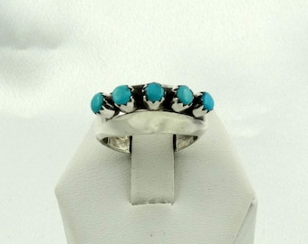 Unusual Vintage Southwest Native American Turquoise Sterling Silver Ring FREE SHIPPING! #VTGTQ-SR4