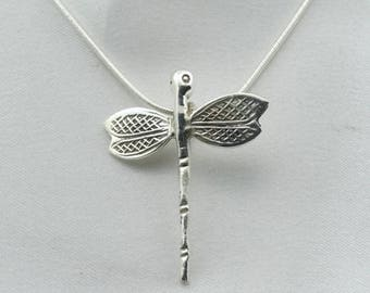 "Lovely Dragonfly Vintage Sterling Silver Pendant. 20"" Sterling Silver Chain Included!  #DRAGONFLY-SPC5"