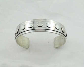 Hallmarked Solid Sterling Silver Geometric Design Vintage Cuff Bracelet #GEOMETERIC-CF8