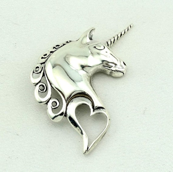 Magical Unicorn Love Sterling Silver Brooch FREE S