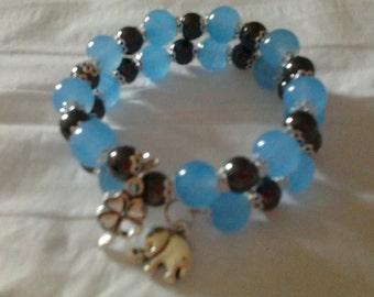 Semi-precious beads on memory Wire Bracelet