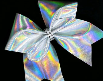Cheer bows, Silver cheer bow, holographic cheer bow, Cheerleading bow, Cheerleader bow, Dance bow, Softball bow, Cheer bow, cheer camp bow