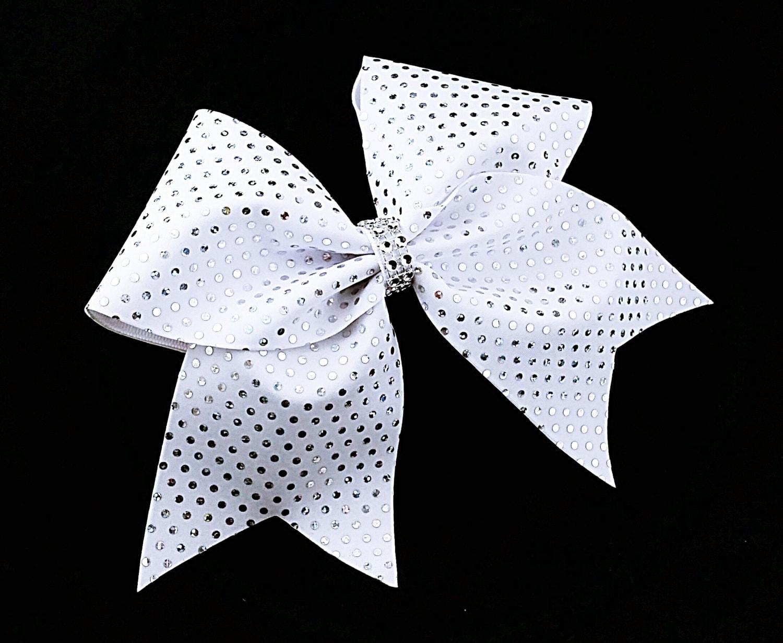Weiße Schleife Schleife Pailletten-Schleife Cheerleader | Etsy