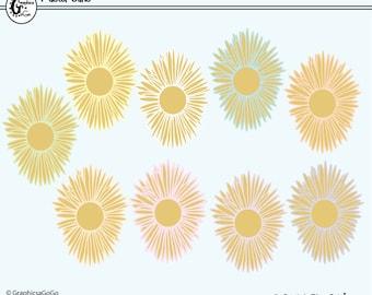 Sun Clipart, Summer Clipart, Birthday Clip Art, Get Well Clipart, Pastel Sun Clip Art, Golden Sun Clip Art, Instant Download