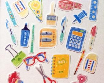 40 Pcs Writing Tools Washi Sticker, Bullet Journal Sticker Flakes, Scrapbooking, Paintbrush, Pencils, Pin, Scissors, Binder Clip,Tape