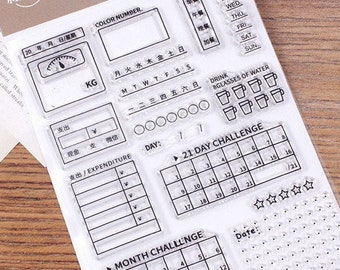 Bullet Journal Tracker Stamp, Month Challenge Clear Transparent Stamp, 21 days Challenge, 8 Glasses of Water, Days of the Week Tracker Stamp
