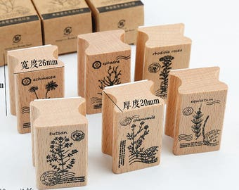 6PCS of Set Botanical Rubber Stamp // Wooden Rubber Stamp