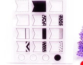 Clear Rubber Stamp Set 16pc - Page Flag Builder - Diary Deco - Planner Stamp T36