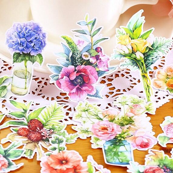 16pcs Large Watercolour Flowers In Vase Bouquet Stickers Etsy