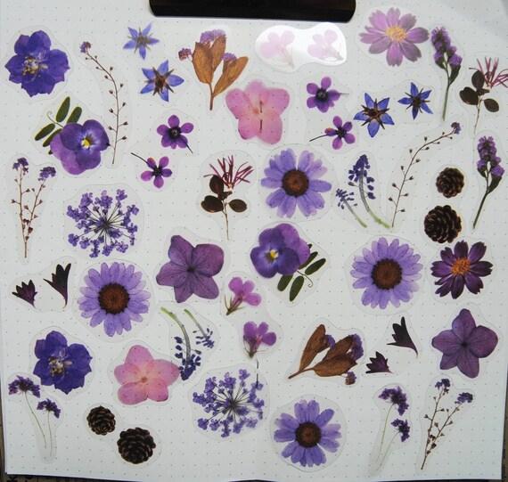 40 Pcs Flowers Vellum Sticker Sunflower Daisy Bullet Journal Travel Journal Scrapbook Floral Sticker Garden Botanicals Leaves