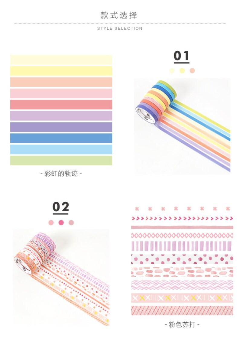 10 Rolls 5mm Slim Basic Foiled Washi Tape Set Thin washi tapes Pastel colors Masking Tape