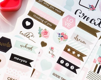 Dokibook 6 sheets Best Wishes Stickers Set for Scrapbooking Happy Planner / Card Making / Journaling Project
