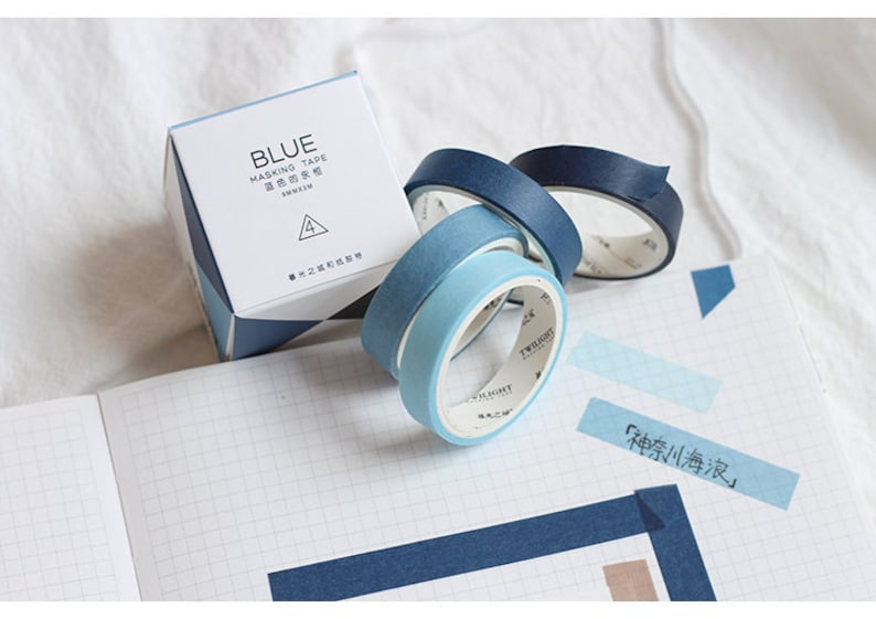 Cool colors Masking Tape Thin washi tapes 9mm Slim Blue Ombre Washi Tape Set