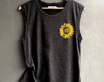 160edf9f1d480 Sunflower pocket - Flower muscle tee - sunflower Shirt - muscle tee of  Summer Shirt - Muscle Tank Top Womens
