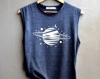 d4e604e0200c52 Saturn Shirt - Planet Shirt - Planet Tank top - Galaxy Shirt Muscle Tank Top  Womens. blackpearlmaker. 4.5 out of ...