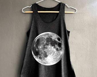 d15830f333ac7d Full Moon Shirt - Moon Phase Shirt - Moon night Tank Top - Dark Gray Womens