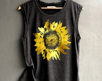 c3390bcac8347 Gold Foil print Flower muscle tee - sunflower Shirt - flower graphic muscle  tee of Summer Shirt - Muscle Tank Top Womens