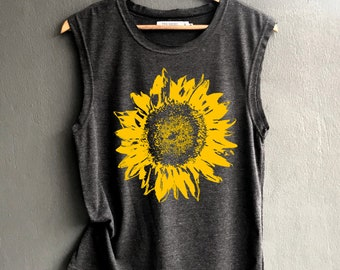 d7814529a760a Flower muscle tee - sunflower Shirt - muscle tee of Summer Shirt - Muscle Tank  Top Womens