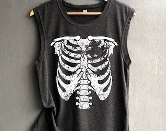 43f913b8a38 Skeleton Shirt - Halloween Shirt - Bones Shirt Tank top Shirt Muscle Tank  Top Womens