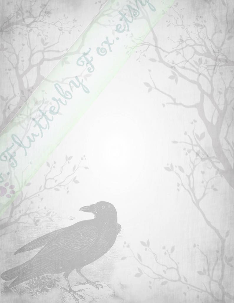 Grimoire Page Book of Shadows Grimoire Pagan Stationery Lined Stationery Book of Shadows Page Raven Crow Stationery Stationery Page