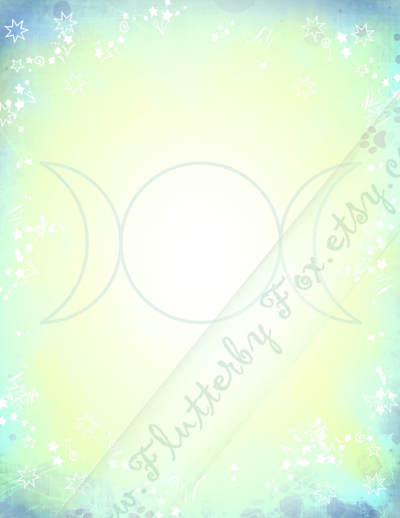 Downloadable Page Pagan Scrapbook Scrapbook Page Blank Page Triple Moon Triple Goddess Printable Page Grimoire Page Book of Shadows