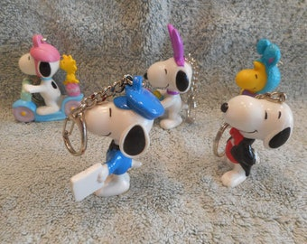 "5 - Snoopy Collectible 3"" PVC Key Chain Figures"