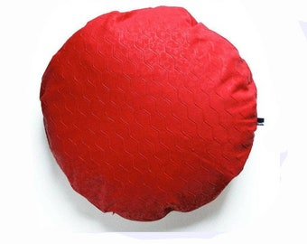 Large round cushion with graphic fabric structure, pillowcase with feather filling, red cushion, 50 cm diameter of stuudio