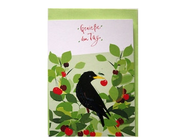 """Sweet greeting card with illustration """"Star in the cherry tree"""", recycled paper, climate-neutral printing, card with envelope, birthday, greeting card"""
