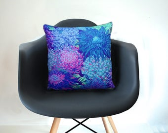 Large cushion cover with floral pattern, blue-green-purple, cushion cover 50 x 50 cm, cotton, by stuudio