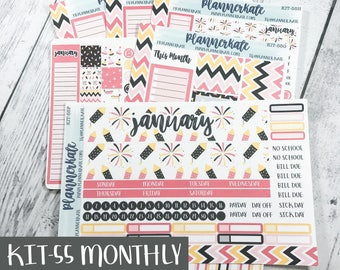 Sale! KIT-55 MONTHLY || January Pink NYE - Monthly Kit Stickers for Planner (Removable Matte Stickers)