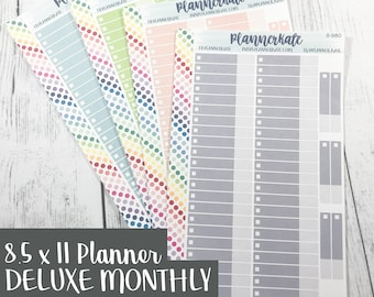 S-980 || Custom Color DELUXE MONTHLY Budget / Bill Stickers for 8.5 x 11 Planner (50 Removable Matte Stickers)