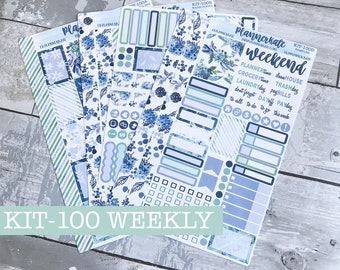 KIT-100 Weekly || Winter Floral - Weekly Kit Stickers for Planner