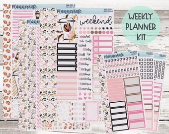 """MK-307 WEEKLY    """"For the Love of Coffee"""" - Weekly Kit Planner Stickers - 2021 Mini Kits"""