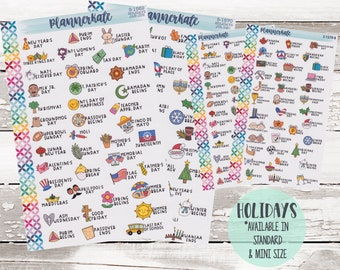 HOLIDAY Planner Stickers - Standard & Mini Size (S-1569 S-1570)