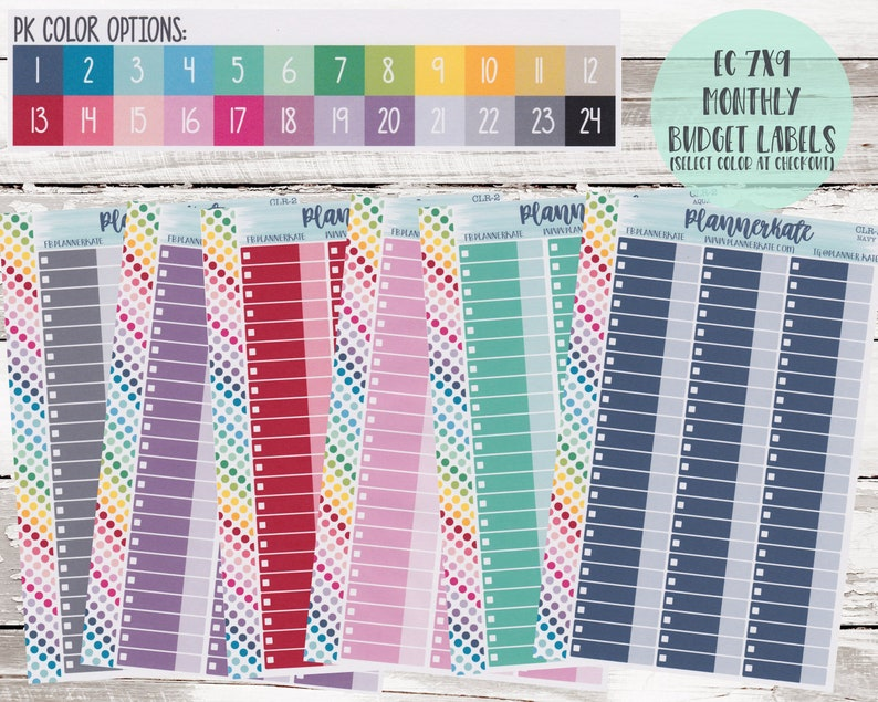 CLR-2 || Custom Color Budget / Bill Planner Stickers for Planner (7x9 Planner) (S-981) photo