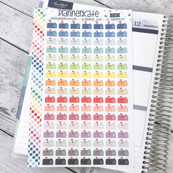 S 686 MAIL BOX Stickers For Planner 119 Removable Matte