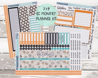 """KIT-349H EC 7x9 Monthly    """"Happy Halloween"""" Monthly Kit Planner Stickers - 2021 Full Kits"""