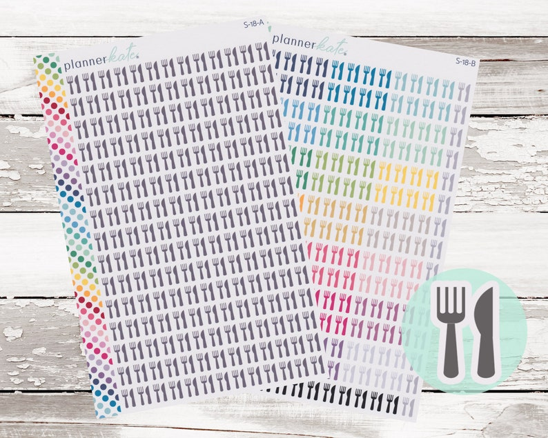 S-18  FORK & KNIFE Meal Planner Stickers A-D Gray B-Colors image 0
