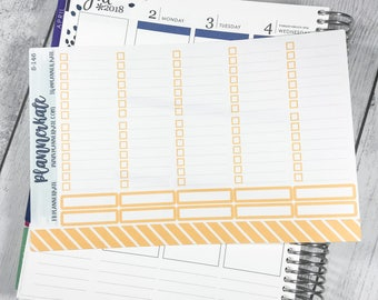 S-146 || FULL BOX Checklist Sticker with lines for Weekly Spread of Erin Condren Vertical (20 Removable Matte Stickers) - Orange