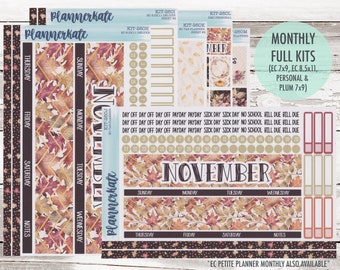 Sale! KIT-260 Monthly    November So Thankful Monthly Kit Planner Stickers - 2020 Full Kits