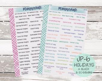JP-6    HOLIDAYS - JenPlans Font Planner Stickers