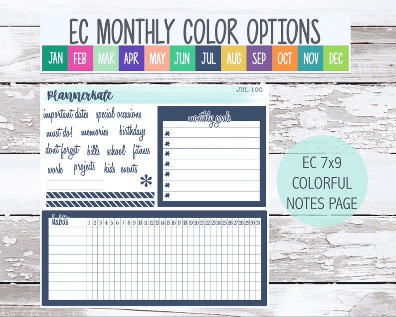 Sale! MNTH-100 || '20/21 EC Notes Dashboard Page Planner Stickers - Monthly Color Scheme photo